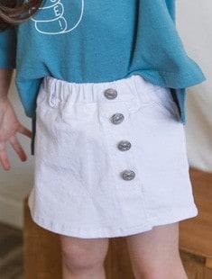 SEWING-B - BRAND - Korean Children Fashion - #Kfashion4kids - White Lap Skirt Pants