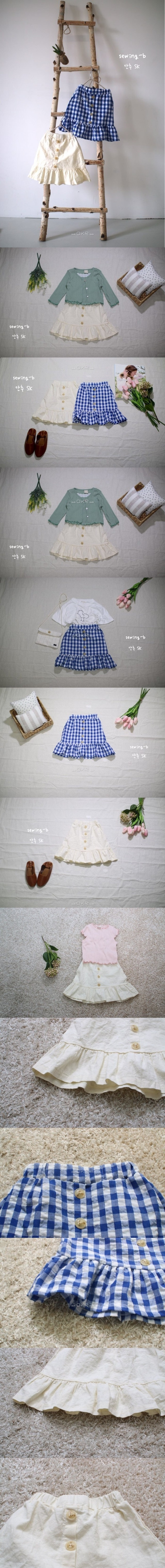 SEWING-B - Korean Children Fashion - #Kfashion4kids - Button Skirt