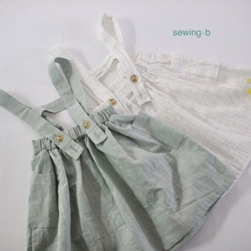 SEWING-B - BRAND - Korean Children Fashion - #Kfashion4kids - Rosemans Suspenders Skirt