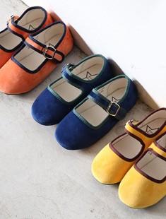 BIMBO BIMBA - BRAND - Korean Children Fashion - #Kfashion4kids - Two-tone Velvet Flats