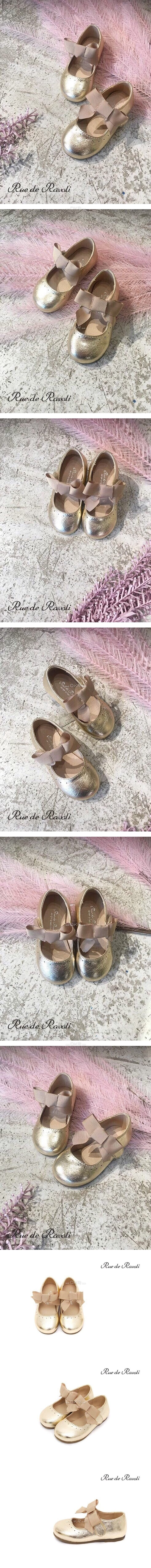 BIMBO BIMBA - Korean Children Fashion - #Kfashion4kids - Gold Ribbon Flats