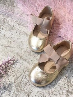 BIMBO BIMBA - BRAND - Korean Children Fashion - #Kfashion4kids - Gold Ribbon Flats