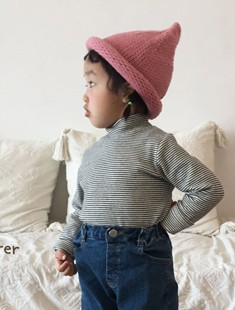 CONCOCTER - BRAND - Korean Children Fashion - #Kfashion4kids - Stripe Winter Neck Polar Tee