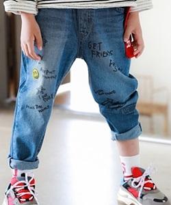 MINI CABINET - BRAND - Korean Children Fashion - #Kfashion4kids - Paint Denim Pants