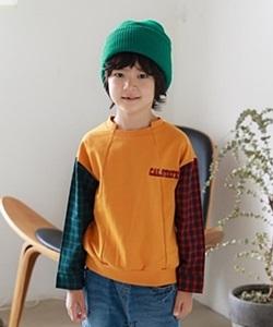MINI CABINET - BRAND - Korean Children Fashion - #Kfashion4kids - Check Sleeve T