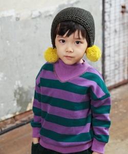 MINI CABINET - BRAND - Korean Children Fashion - #Kfashion4kids - Stripe Turtleneck T