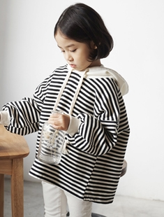 HONEYBEE - BRAND - Korean Children Fashion - #Kfashion4kids - Stripe Hood Tee