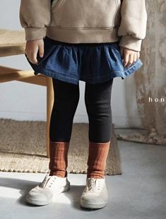 HONEYBEE - BRAND - Korean Children Fashion - #Kfashion4kids - Denim Skirt Leggings