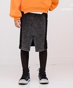 LE BONBON - BRAND - Korean Children Fashion - #Kfashion4kids - Side Line Fleece Denim Skirt