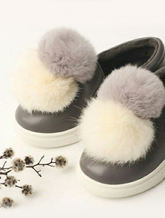 NAMOO & KIDS - BRAND - Korean Children Fashion - #Kfashion4kids - White Pompom Slip-on