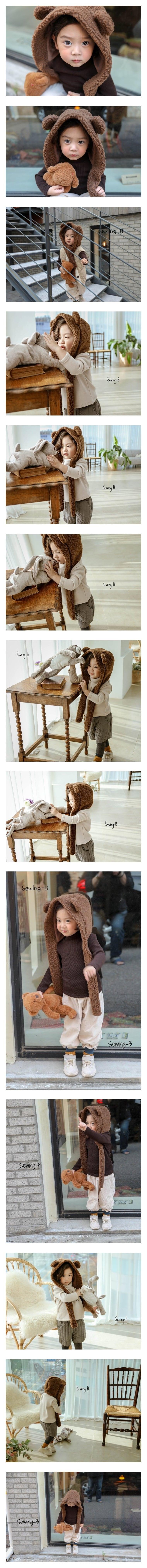 SEWING-B - Korean Children Fashion - #Kfashion4kids - Bear Muffler Hat