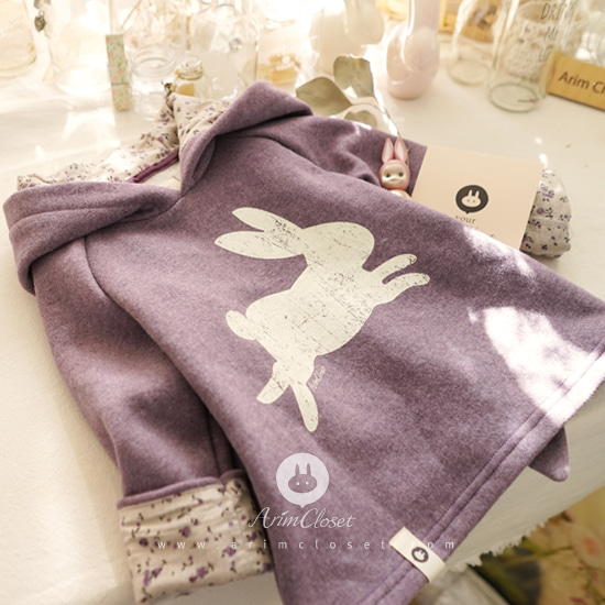 ARIM CLOSET - BRAND - Korean Children Fashion - #Kfashion4kids - Violet Cute Rabbit Cotton Hood