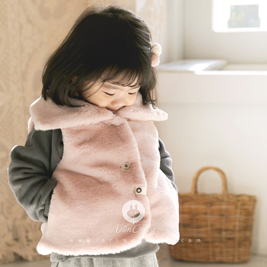 ARIM CLOSET - BRAND - Korean Children Fashion - #Kfashion4kids - Lovely Pink Baby Waist Coat