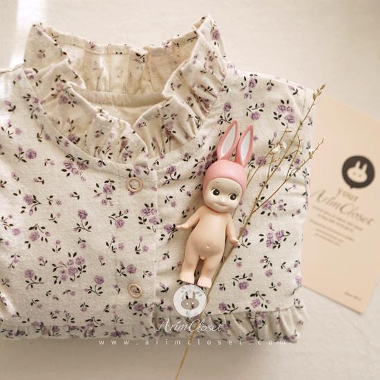 ARIM CLOSET - BRAND - Korean Children Fashion - #Kfashion4kids - Violet Flower Printed Cotton Bodysuit