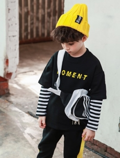 BLUR RUSH - BRAND - Korean Children Fashion - #Kfashion4kids - Stripe Double Layered Tee