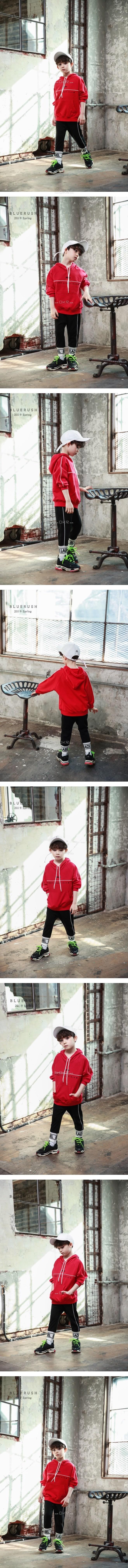 BLUR RUSH - Korean Children Fashion - #Kfashion4kids - Piping Hood Tee