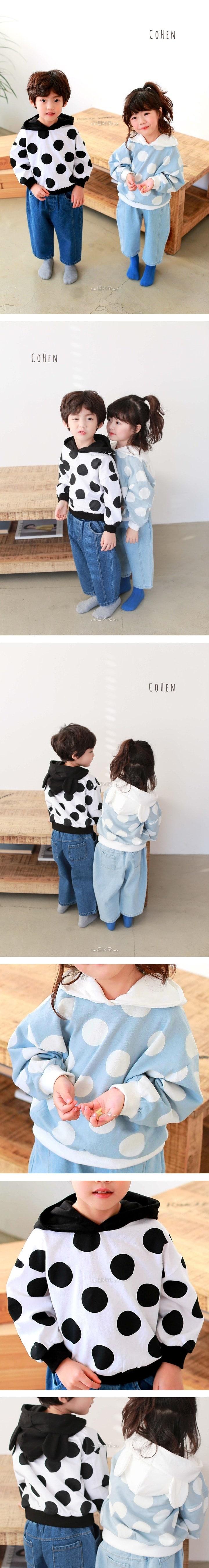 COHEN - Korean Children Fashion - #Kfashion4kids - Dot Pooh Hood Tee