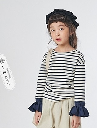 JM SNAIL - BRAND - Korean Children Fashion - #Kfashion4kids - Stripe Frill Tee