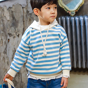MINI CABINET - BRAND - Korean Children Fashion - #Kfashion4kids - Stripe Hood Tee