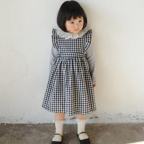 MOMO ANN - BRAND - Korean Children Fashion - #Kfashion4kids - Lucy Check Frill Dress