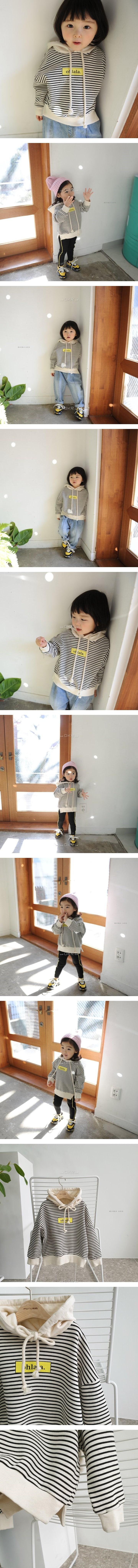 MOMO ANN - Korean Children Fashion - #Kfashion4kids - Stripe Hood Tee
