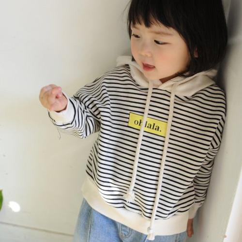 MOMO ANN - BRAND - Korean Children Fashion - #Kfashion4kids - Stripe Hood Tee