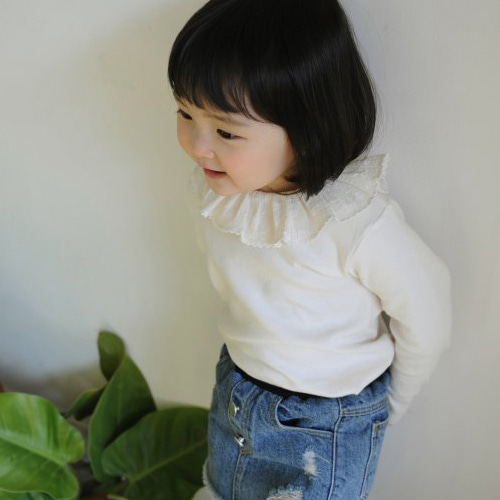 MOMO ANN - BRAND - Korean Children Fashion - #Kfashion4kids - Pintuck Frill Tee