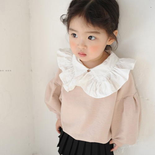 MOMO ANN - BRAND - Korean Children Fashion - #Kfashion4kids - Frill Collar MTM Tee