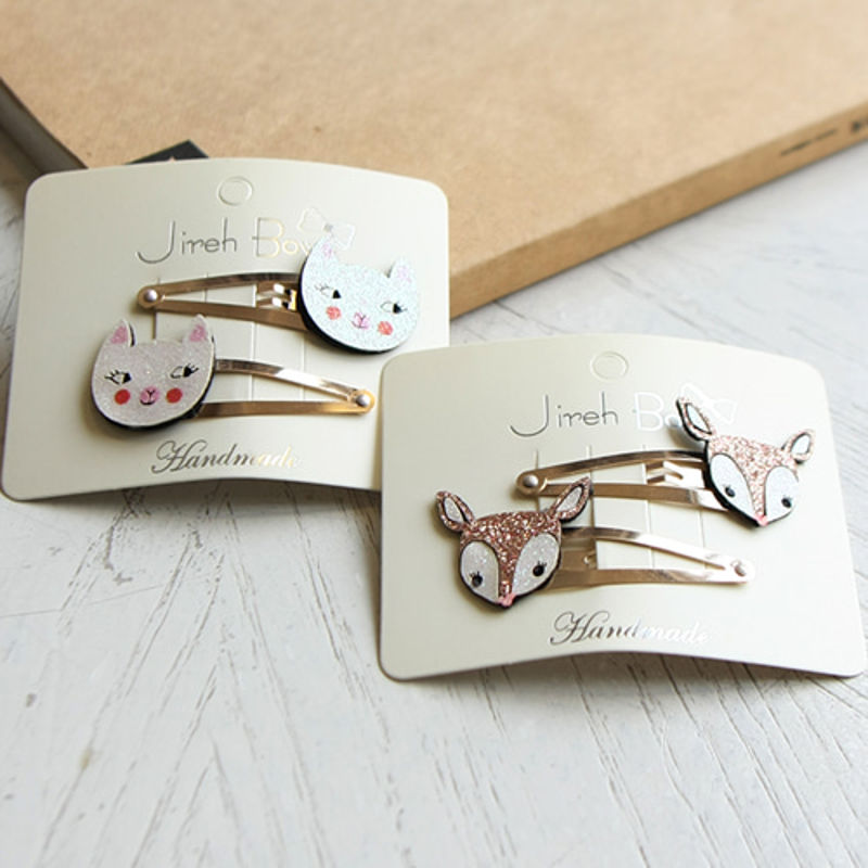 JIREH BOW - BRAND - Korean Children Fashion - #Kfashion4kids - Bambi Cat Hairpin [set of 4]