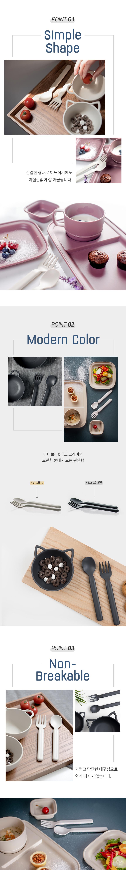 NINEWARE - Korean Children Fashion - #Kfashion4kids - Mono Spoon & Fork Set [set of 5] - 2