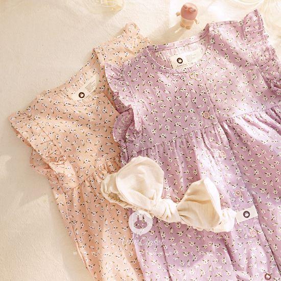 ARIM CLOSET - BRAND - Korean Children Fashion - #Kfashion4kids - Baby Flower All Open Bodysuit