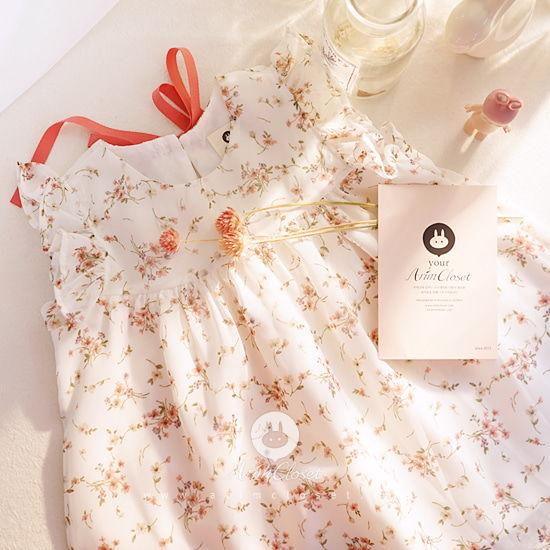 ARIM CLOSET - BRAND - Korean Children Fashion - #Kfashion4kids - Flower Chiffon Cotton Dress
