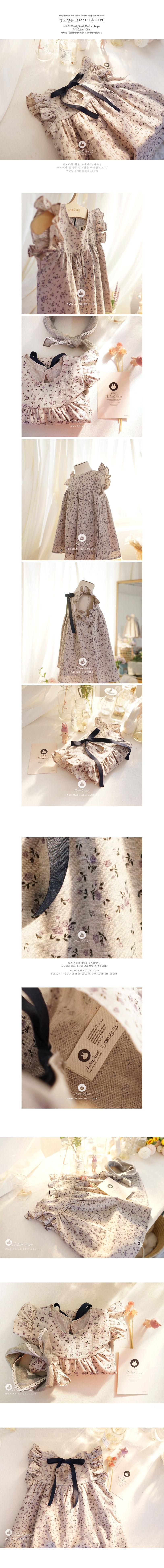 ARIM CLOSET - Korean Children Fashion - #Kfashion4kids - Navy Ribbon Violet Flower Dress - 2
