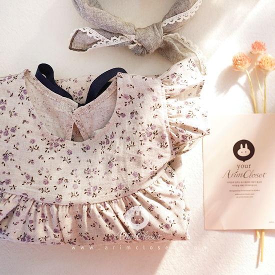 ARIM CLOSET - BRAND - Korean Children Fashion - #Kfashion4kids - Navy Ribbon Violet Flower Dress