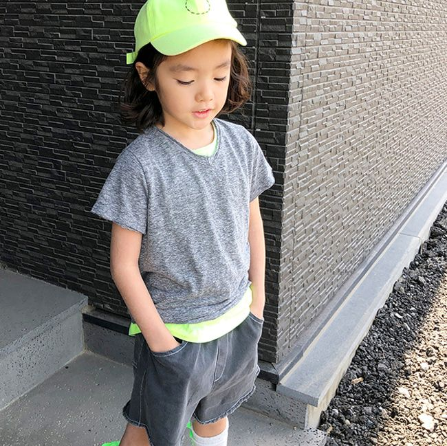 BIEN A BIEN - BRAND - Korean Children Fashion - #Kfashion4kids - V-Neck Slub Tee