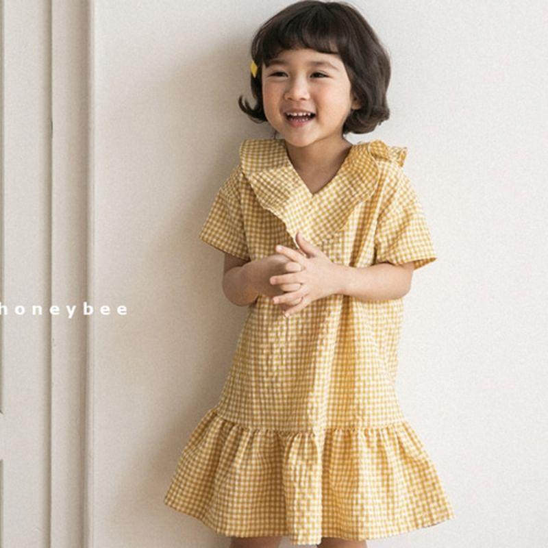 HONEYBEE - BRAND - Korean Children Fashion - #Kfashion4kids - Check V-Neck Dress