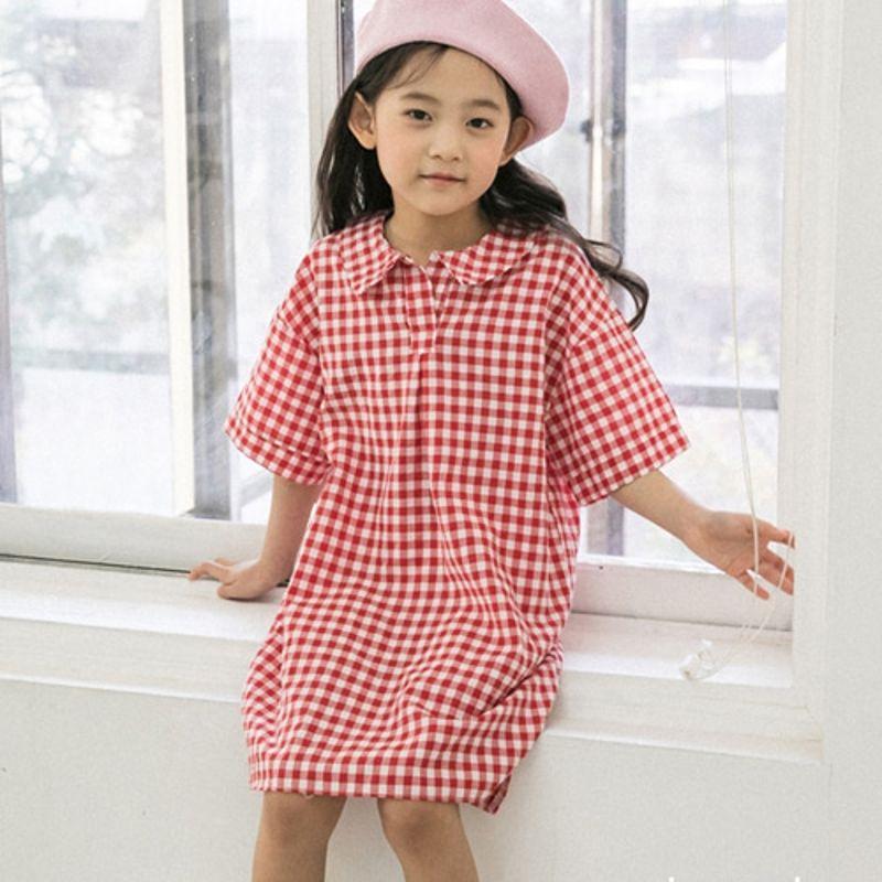 HONEYBEE - BRAND - Korean Children Fashion - #Kfashion4kids - Check Shirt Dress