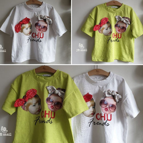 JM SNAIL - BRAND - Korean Children Fashion - #Kfashion4kids - Chu Ribbon Tee