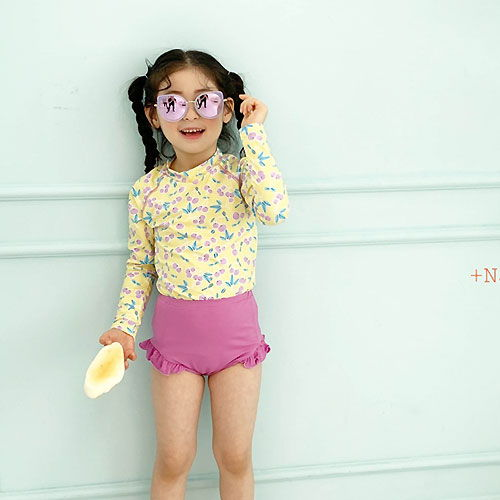 PLUS NINE - BRAND - Korean Children Fashion - #Kfashion4kids - Cherry Rash Guard Set