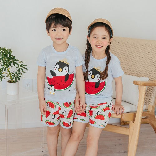 PUCO - BRAND - Korean Children Fashion - #Kfashion4kids - Watermelon Penguin Easywear