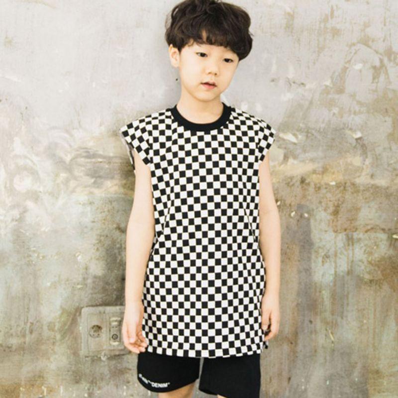 RAKU - BRAND - Korean Children Fashion - #Kfashion4kids - Check Sleeveless Top