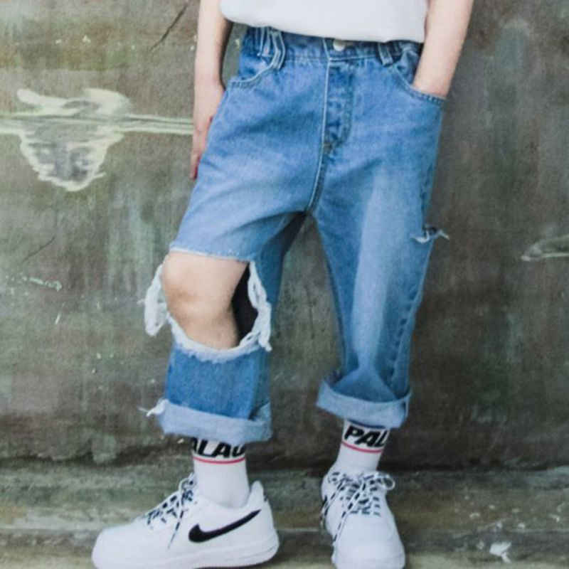 RAKU - BRAND - Korean Children Fashion - #Kfashion4kids - Square Denim Pants