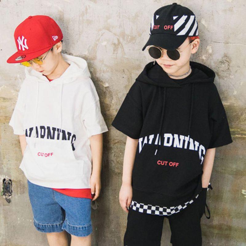 RAKU - BRAND - Korean Children Fashion - #Kfashion4kids - Warning Hood Tee