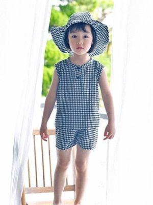 WANDOOKONG - BRAND - Korean Children Fashion - #Kfashion4kids - Spoon Check Top Bottom Set