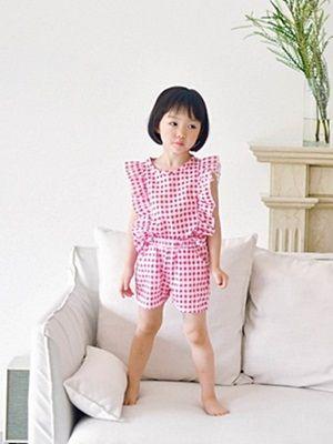 WANDOOKONG - BRAND - Korean Children Fashion - #Kfashion4kids - Jane Check Top Bottom Set