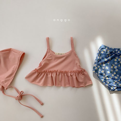 ANGGO - Korean Children Fashion - #Kfashion4kids - Macaron Swimwear with Hat - 3