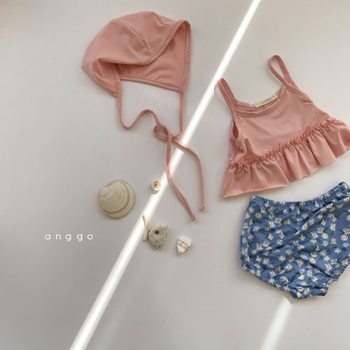 ANGGO - BRAND - Korean Children Fashion - #Kfashion4kids - Macaron Swimwear with Hat