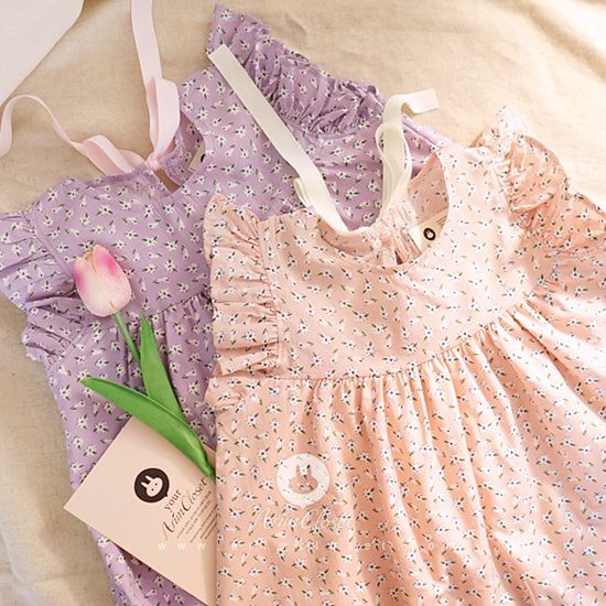 ARIM CLOSET - BRAND - Korean Children Fashion - #Kfashion4kids - Pink Violet Flower Dress