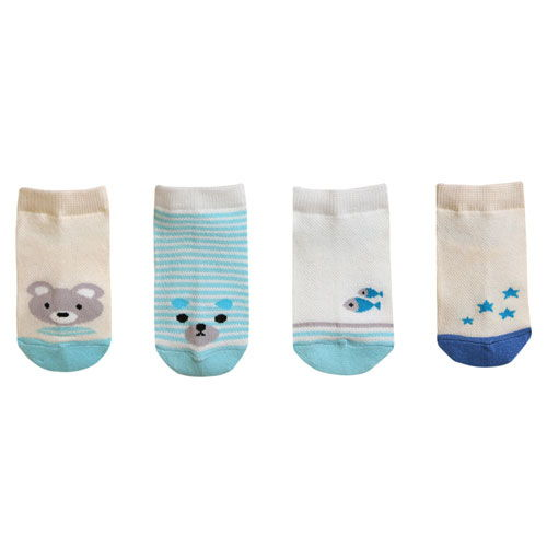 BEBECHAT - BRAND - Korean Children Fashion - #Kfashion4kids - Ankle Lucy Blue Socks [set of 4]