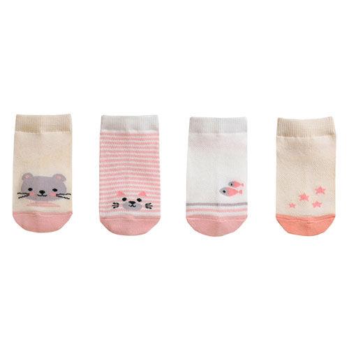 BEBECHAT - BRAND - Korean Children Fashion - #Kfashion4kids - Ankle Lucy Pink Socks [set of 4]